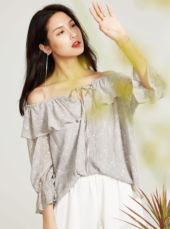 OFF SHOULDER CHIFFON BOHO TOP