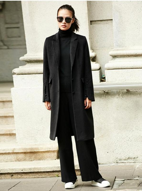 MINIMALISM BLACK WOOLEN TURN-DOWN COAT