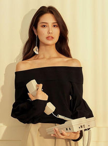 OFF SHOULDER PUFF SLEEVE BLACK BLUZKA