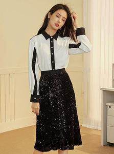 MIDI A-LINE SEQUINED SKIRT