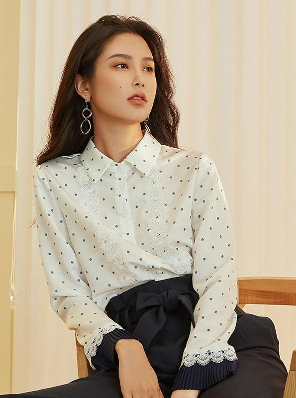 LACED POLKA DOT BUTTONED UP FORMAL SHIRT