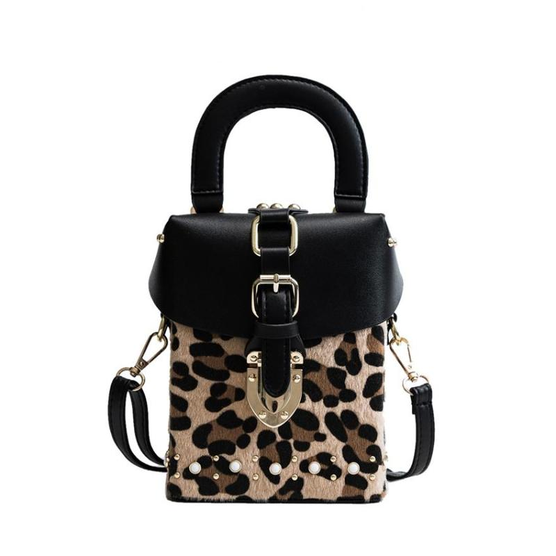 LEOPARD PRINT BOX SHAPED BAG