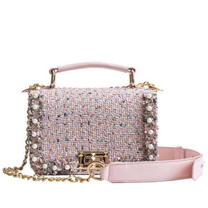 PINK TWEED & PEARLS CLUTCH