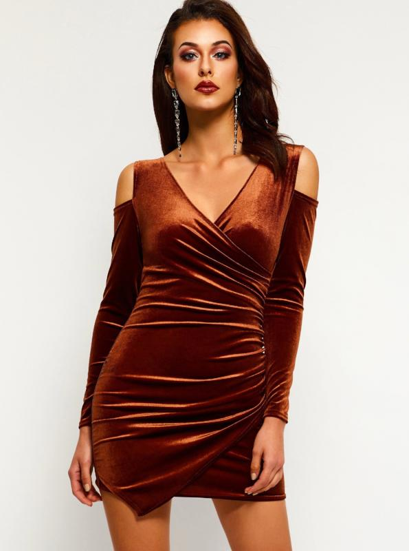 COLD SHOULDER VELVET BANDAGE MINIKLEID