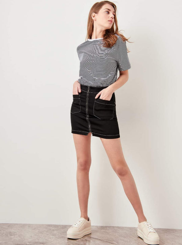 KONTRAST STITCH DENIM MNI SKIRT
