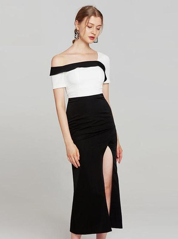 BODYCON BLACK AND WHITE FORMAL DRESS - IMPAVIID