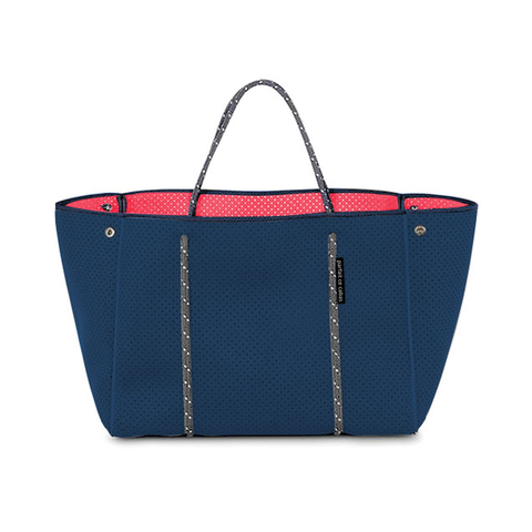 Neoprene Bag - Navy - with coral-coloured lining