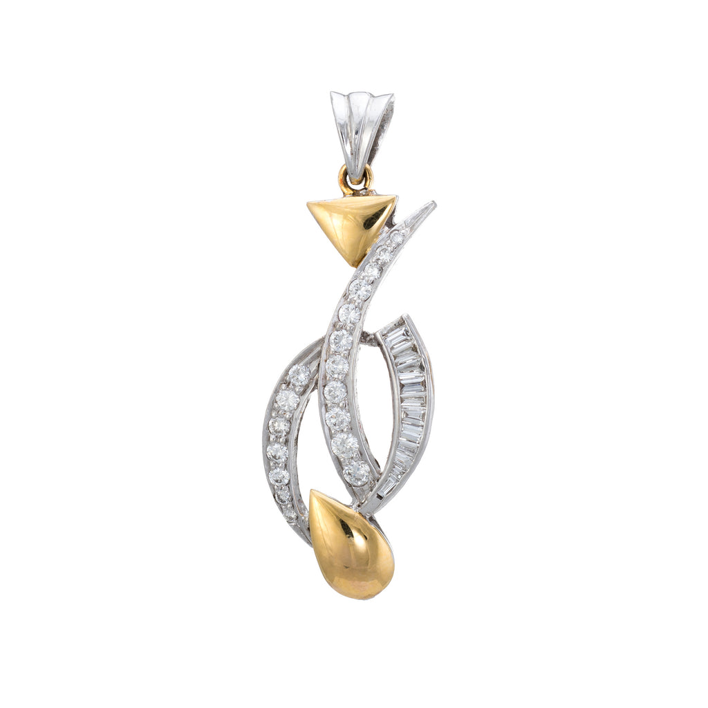 Mixed Cut Diamond Pendant Estate 18k Two Tone Gold Fine Vintage Jewelry