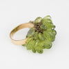 Vintage Peridot Charm Cocktail Ring 18k Yellow Gold