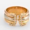 Vintage Cartier Double C Diamond Ring Sz 52 6 18k Gold 1997 Estate Jewelry Band