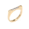 Vintage Set of 2 Stacking Rings Diamond 14k Yellow Gold Bridge Square Sz 5.25