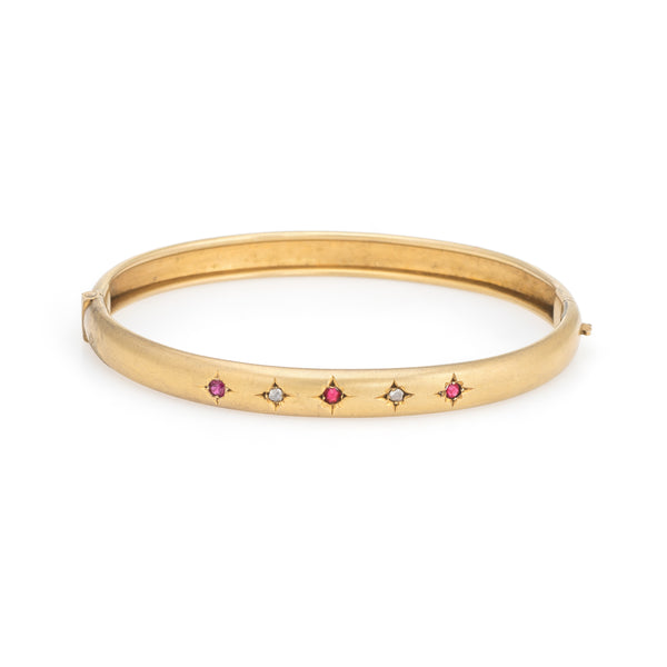 Antique Victorian Bangle Bracelet 10k Yellow Gold Ruby Diamond 6.5