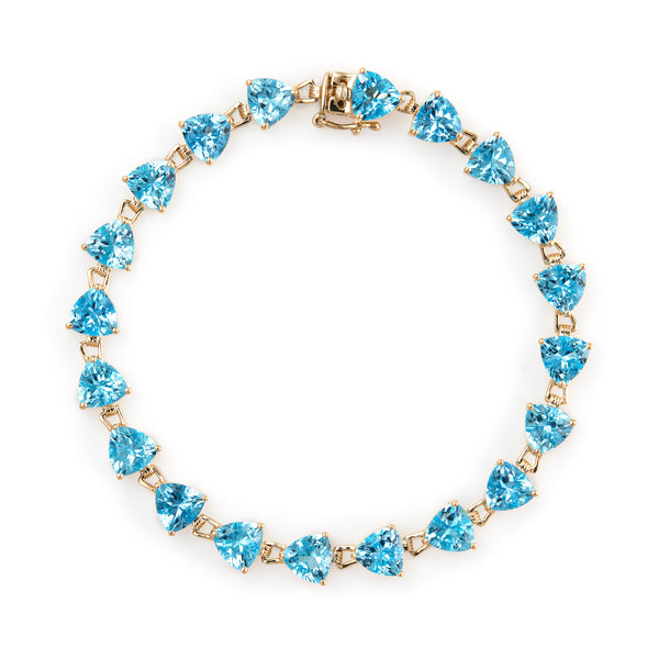 16ct Blue Topaz Bracelet Tennis Line Estate 14k Yellow Gold Trillion Cut Jewelry
