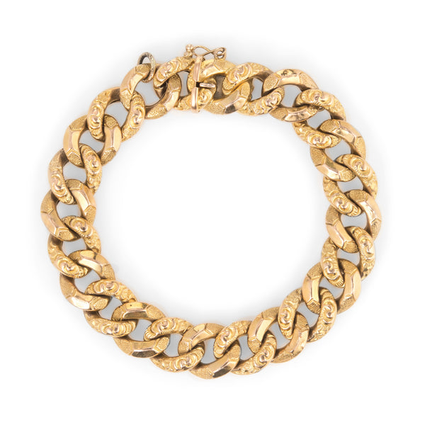 Antique Victorian French Bracelet 18k Yellow Gold Large Curb Links 8
