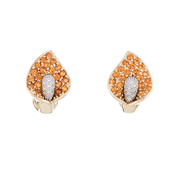 Calla Lily Earrings Citrine Diamond Estate Jewelry 14k Yellow Gold Flowers