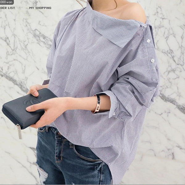 Women Bat-wing Striped Loose Oblique Collar Blouse