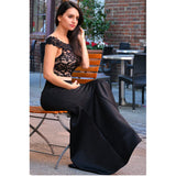 Mamir's Express - Women Summer Dress Black Scalloped Off Shoulder Mermaid Evening Mesh Lace Dress Ladies Elegant Trumpet Party Dresses