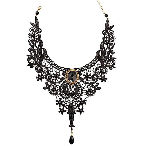 Mamir's Express - Black Lace Alloy Water-drop Pendant Statement Bib Choker Necklace