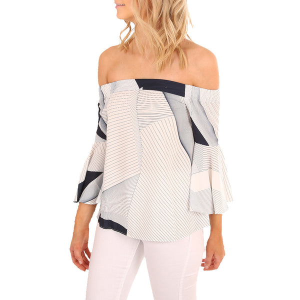Women Off Shoulder Blouse Geometric Splicing Printing Long Sleeve Top