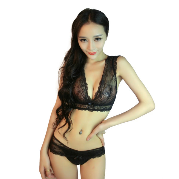 Mamir's Express - Embroidery Floral lace Sheer Lingerie Underwear Bra Set