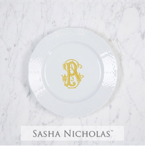 Sasha Nicholas Weave Salad Plate With Monogram
