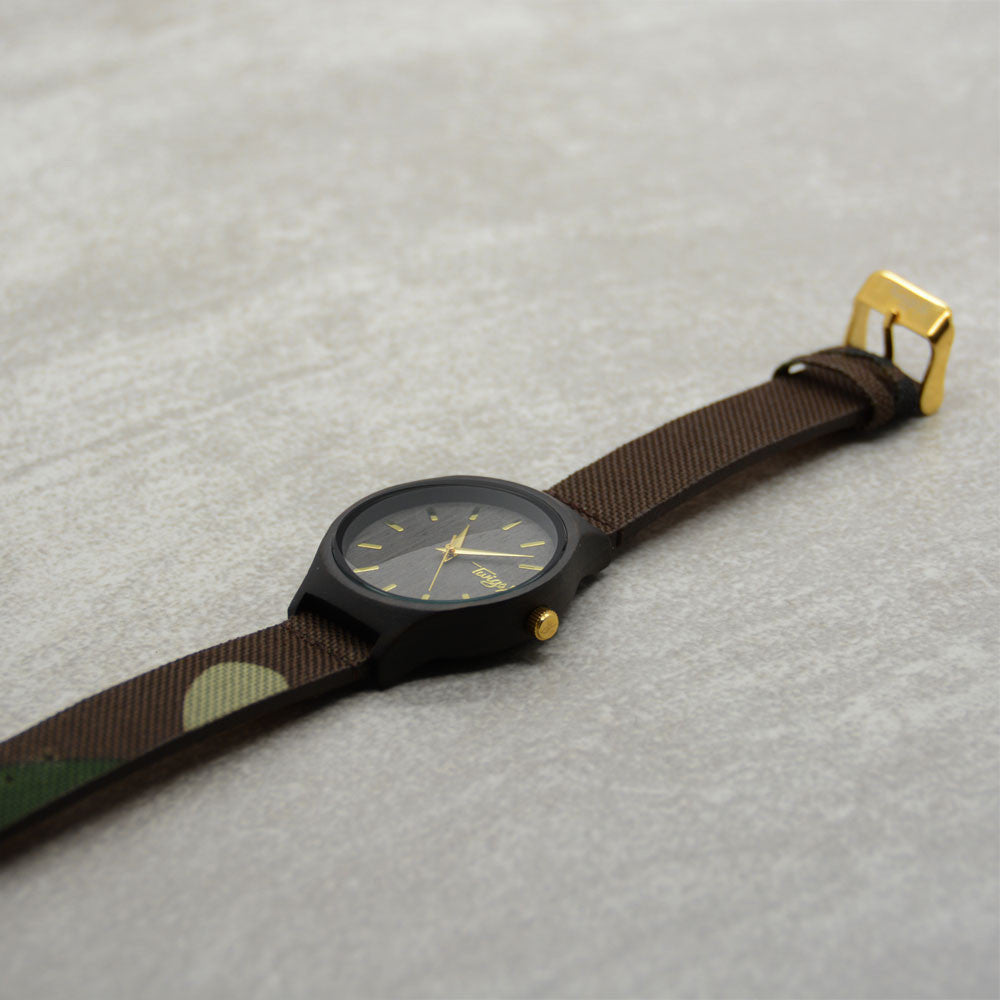 Camo and Gold Wood Watch