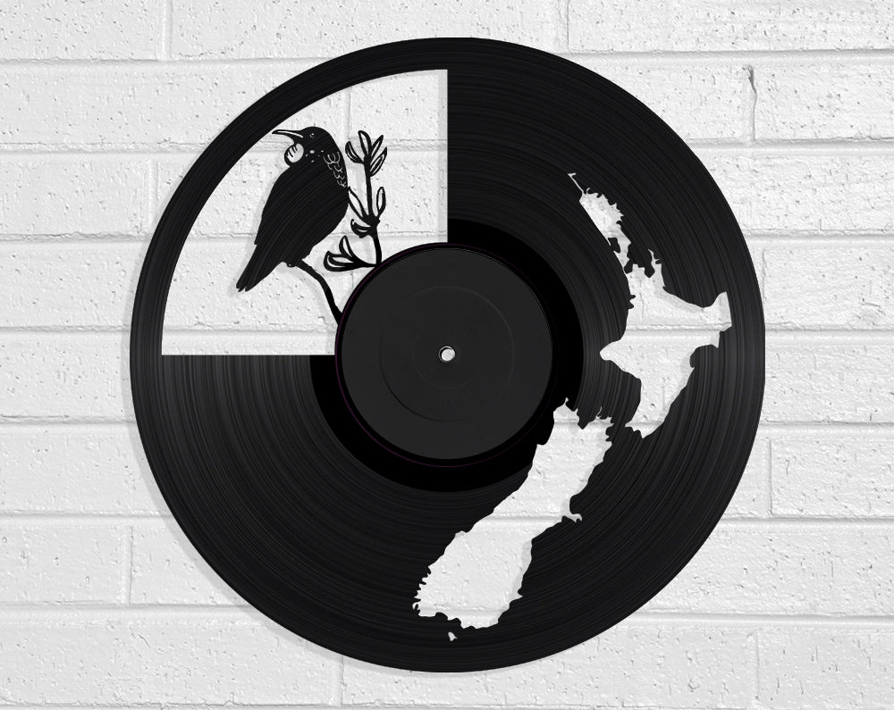 NZ Map & Tui Vinyl Record Art Vinyl Revamp - Vinyl Record Art