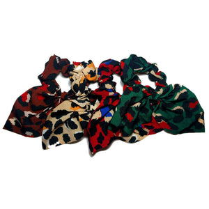 jewel tone leopard scrunchies with tails, 4 pack