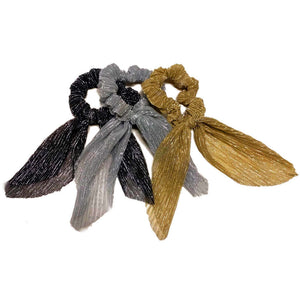 Metallic scrunchies with ties