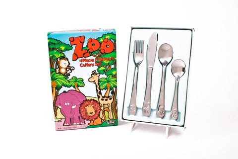 Children's 4 piece cutlery set - Zoo