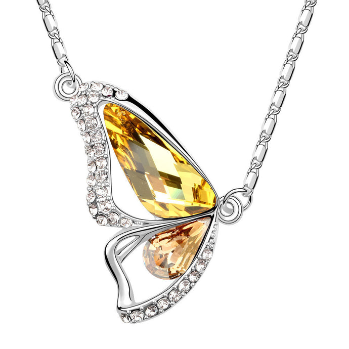 Butterfly Citrine Swarovski Elements Crystal Pendant Necklace