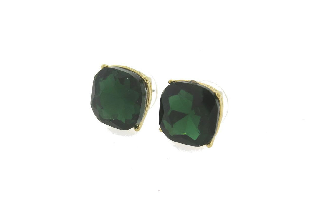 Stunning Green 12mm Cushion Cut Stud Earrings