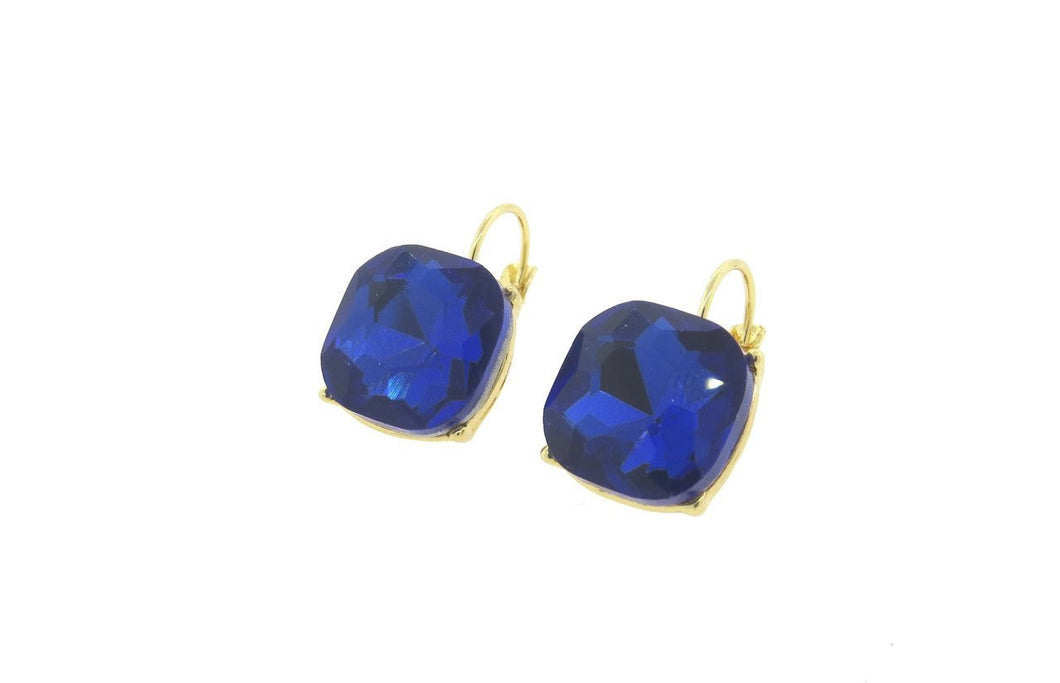 Blue 12mm Cushion Cut French Back Earrings