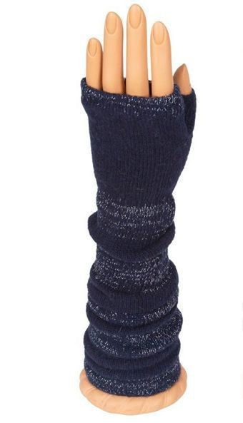 Navy Glitter Long Arm Warmer Fingerless Gloves