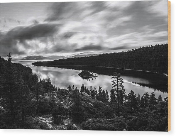 Emerald Bay Rays Black And White By Brad Scott - Wood Print