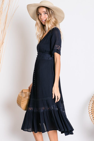 Stroll in the Park Dress- Navy