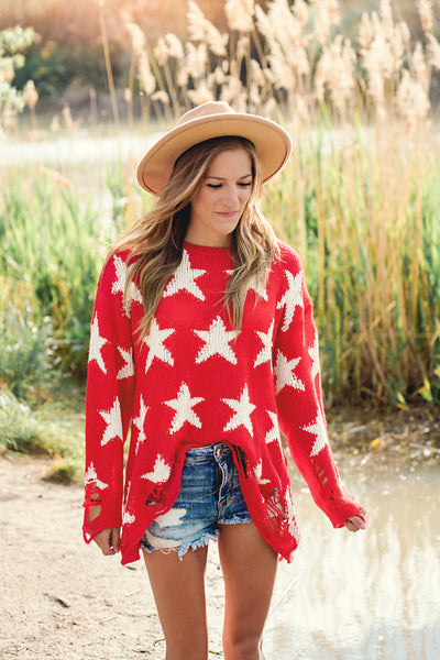 Red Star Distressed Knit Sweater