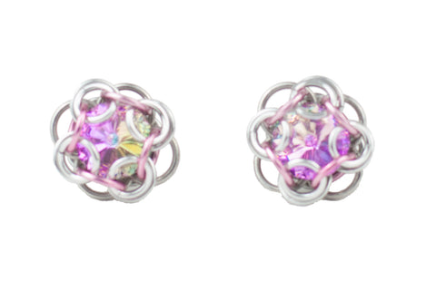 Swarovski Crystal Captured Stud Earrings - Light Pink Crystal