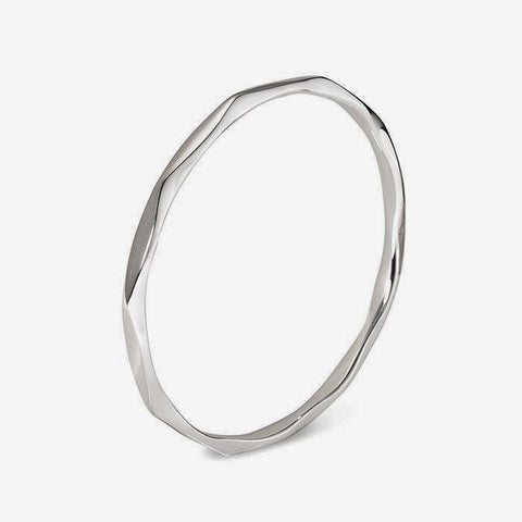 Sterling Silver Bangle With a Wavy Pattern