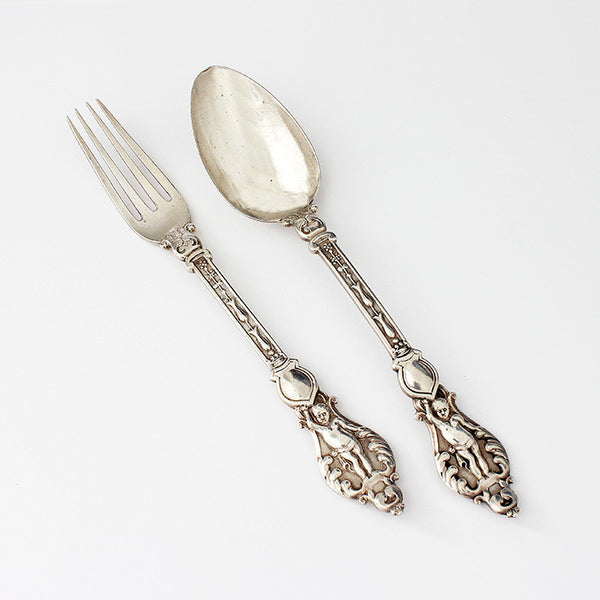 a victorian silver fork and spoon christening set with engraving hallmarked 1884