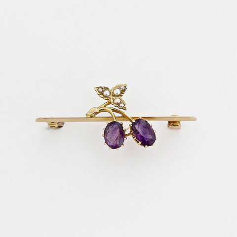 amethyst and seed pearl gold brooch