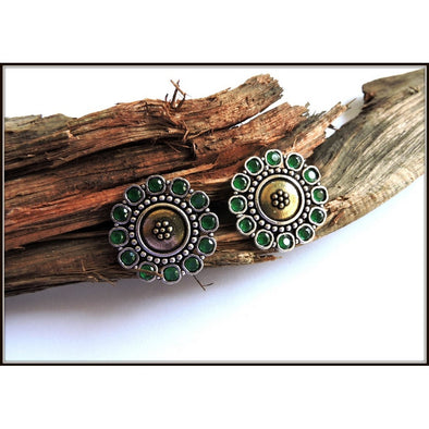Dual Tone Stud with Green stones
