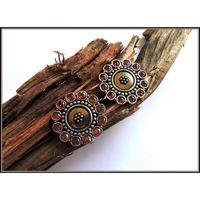 Dual Tone Stud with Brown stones