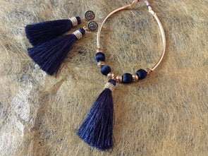 Silk Thread Necklace with Tussels Pendant