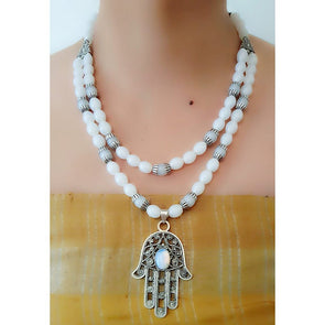 White Glass Beads Necklace 3