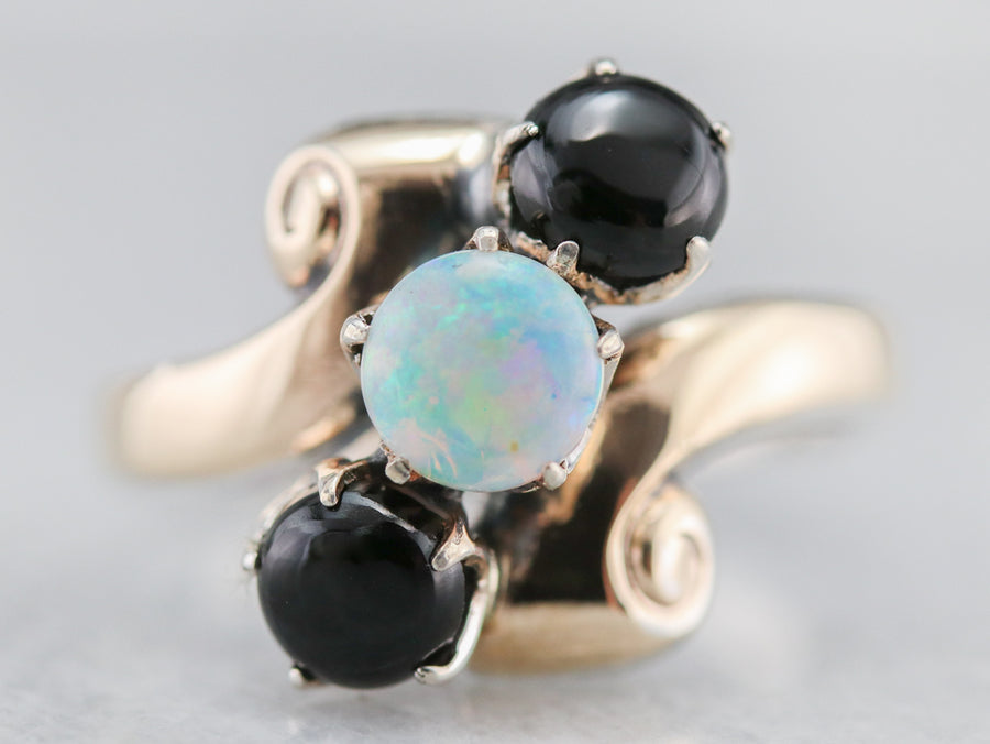 Vintage Gainsboro Opal and Onyx Bypass Ring