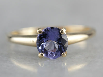 Tanzanite and Yellow Gold Ladies Solitaire