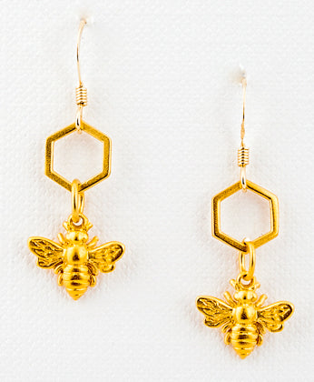 24k Gold Vermeil Honeycomb & Bee Earrings