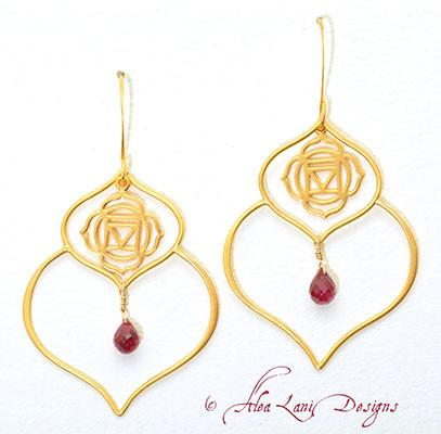 24k Gold Vermeil Double Lotus Petal Chakra Earrings