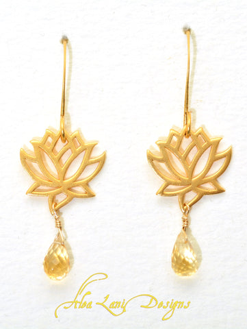 24k gold vermeil medium lotus earrings